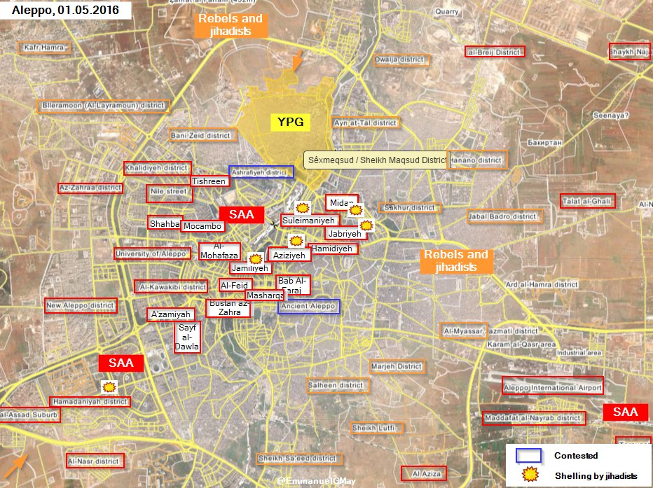 Military Situation in Aleppo, Syria. Militants Shell Government and Kurdish Controlled Districts