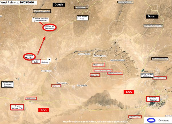 Syria's Army Takes Hills near Al-Mahr Field and Shaer Gas Field