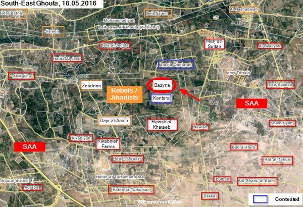 Loyalists Take Bazyna from Jihadists in Eas Ghouta, Syria