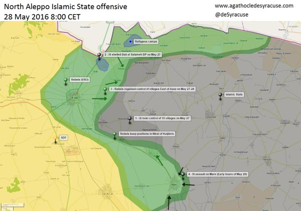 Rebels Regain 4 Villages from ISIS near Azaz in Northern Syria