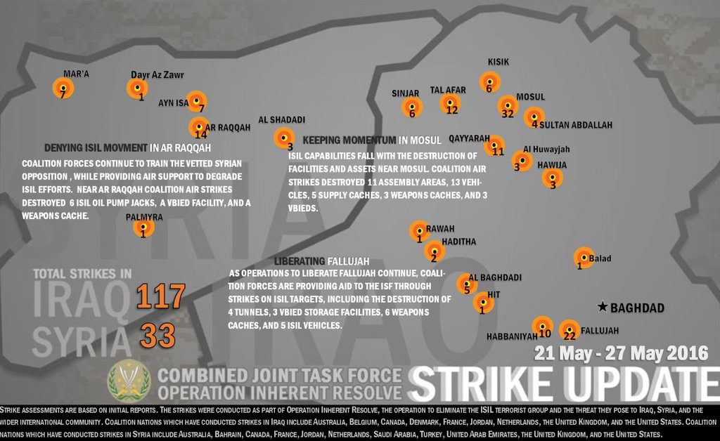 US-led Coalition Airstrikes in Syria and Iraq: May 21 - May 27, 2016