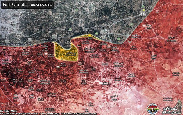 Syria: Military Situation in Southern Sector of East Ghouta on May 31