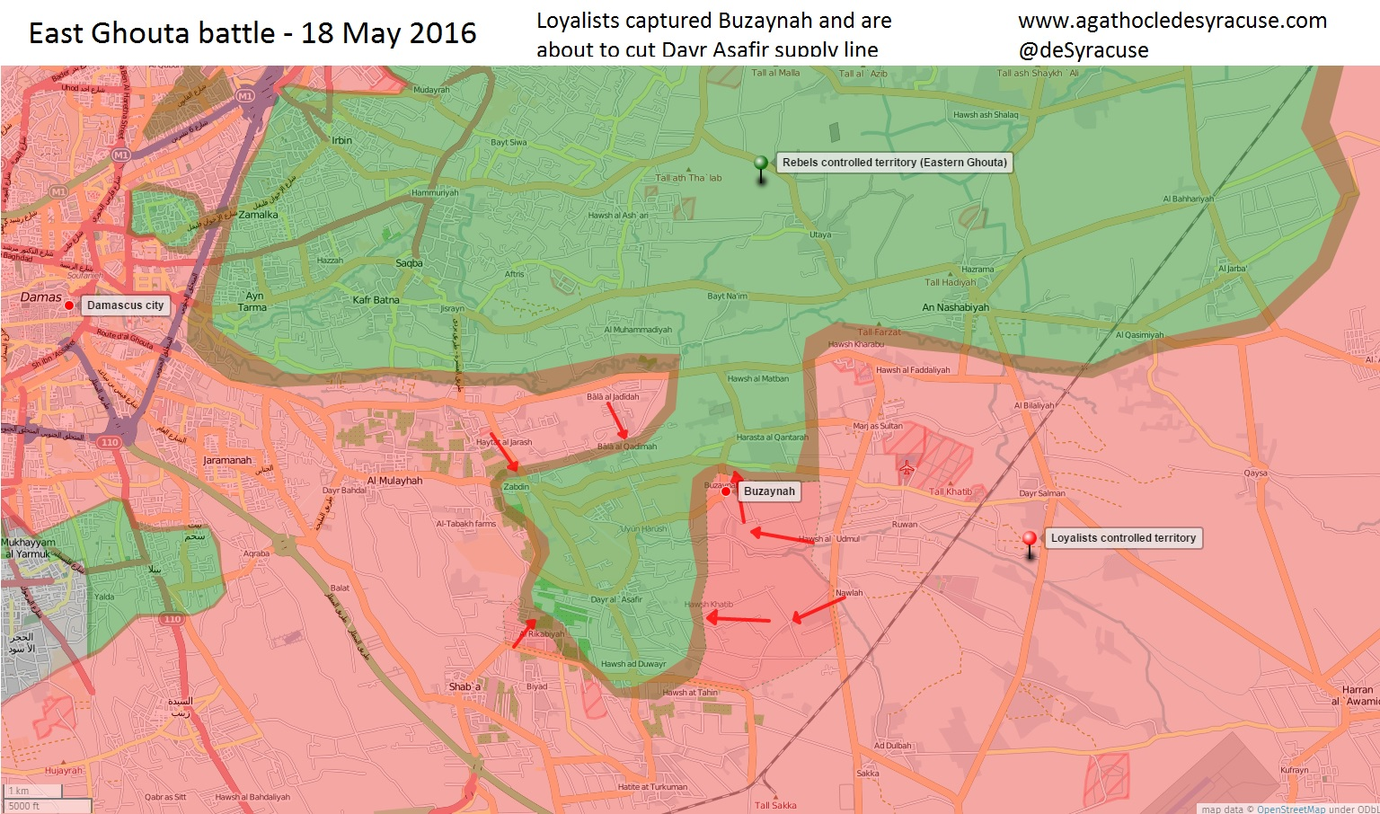 Loyalists Take Bazyna from Jihadists in Eas Ghouta, Syria