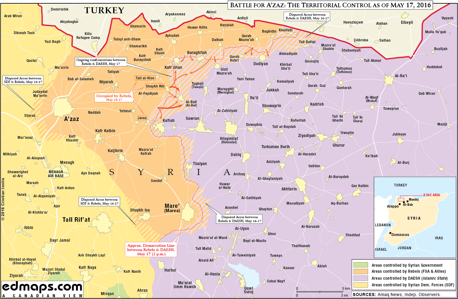 Military situation in North Aleppo, Syria on May 17