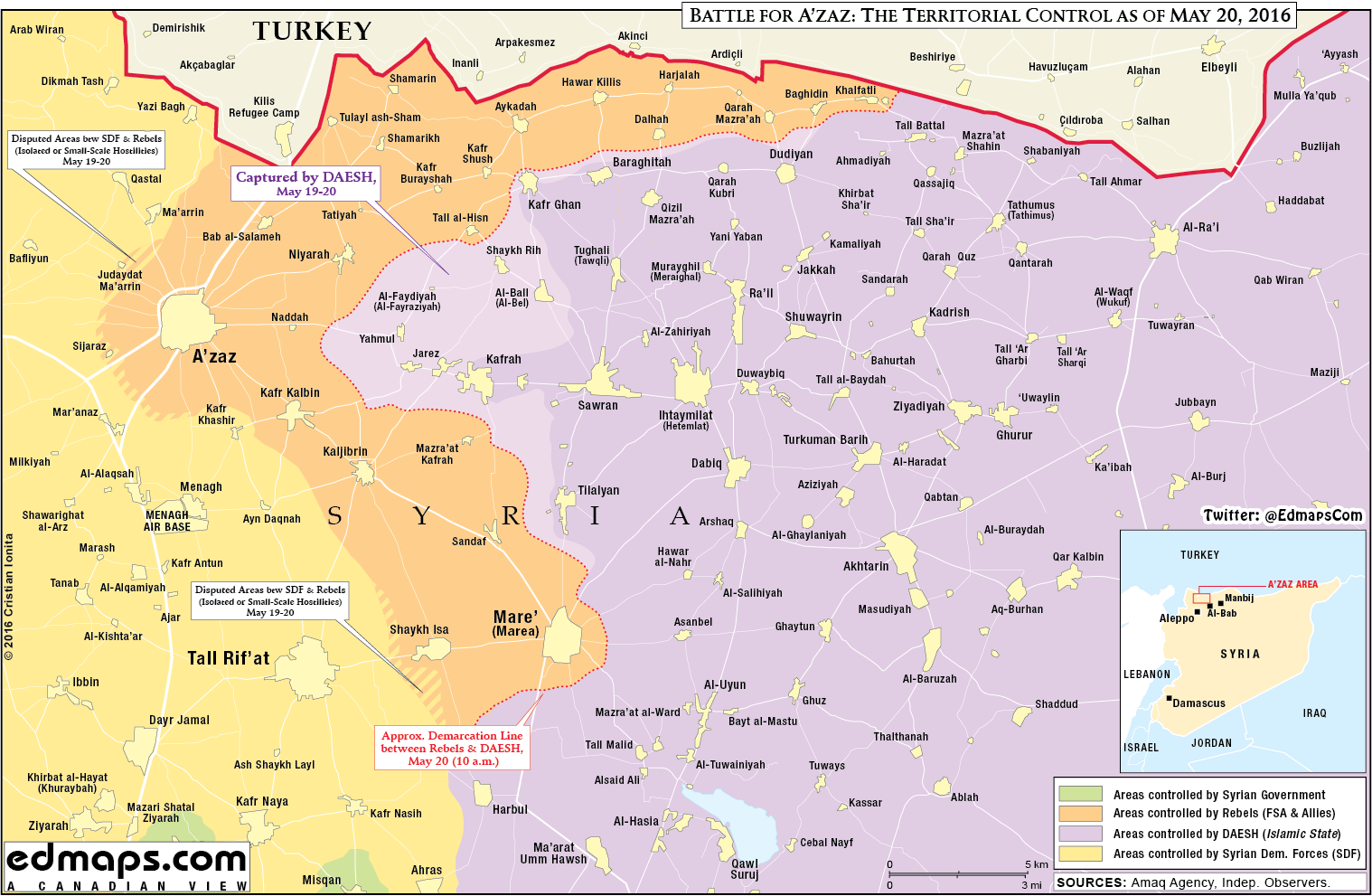 Military Situation in Norhern Aleppo, Syria on May 20