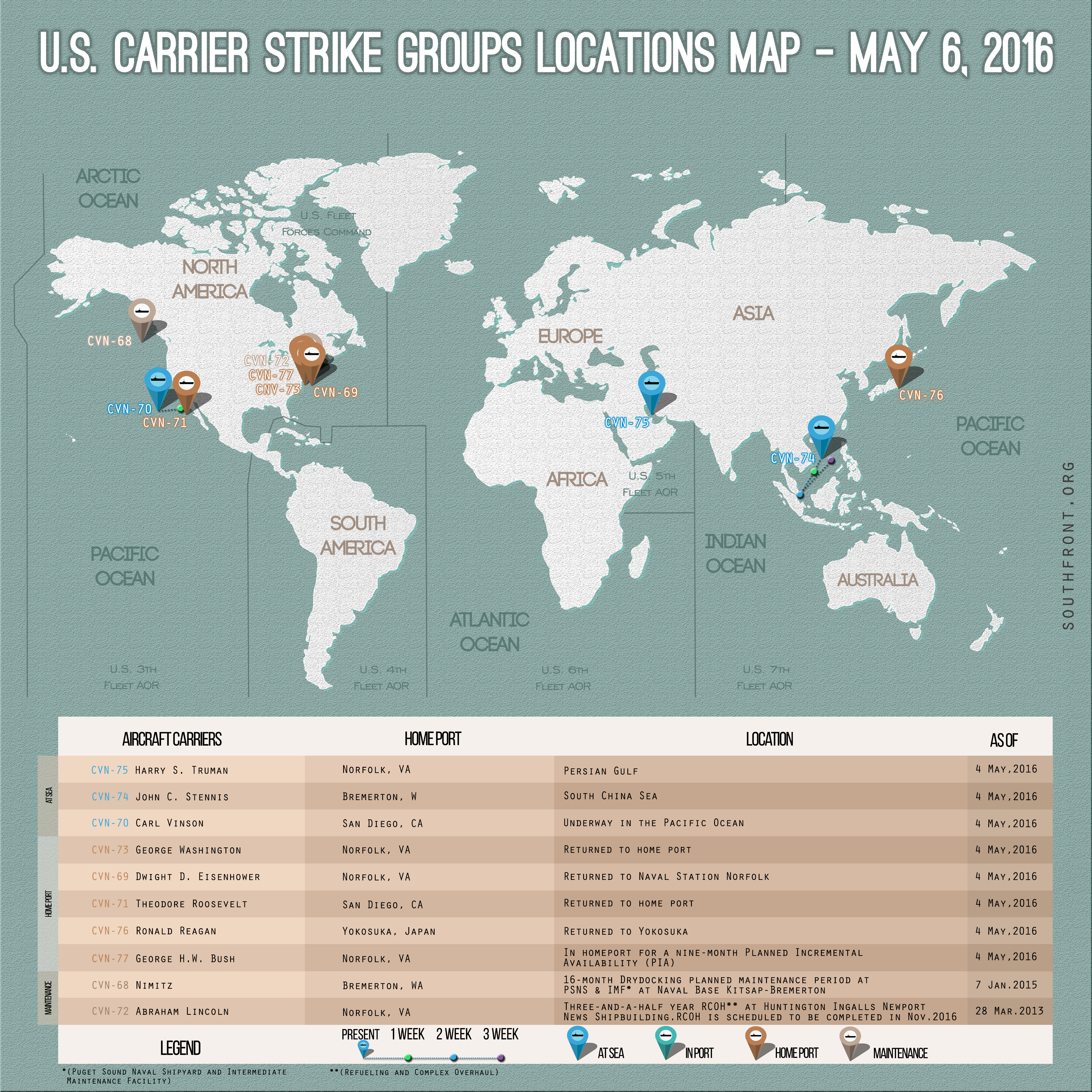 U.S. Carrier Strike Groups Locations Map – May 6, 2016