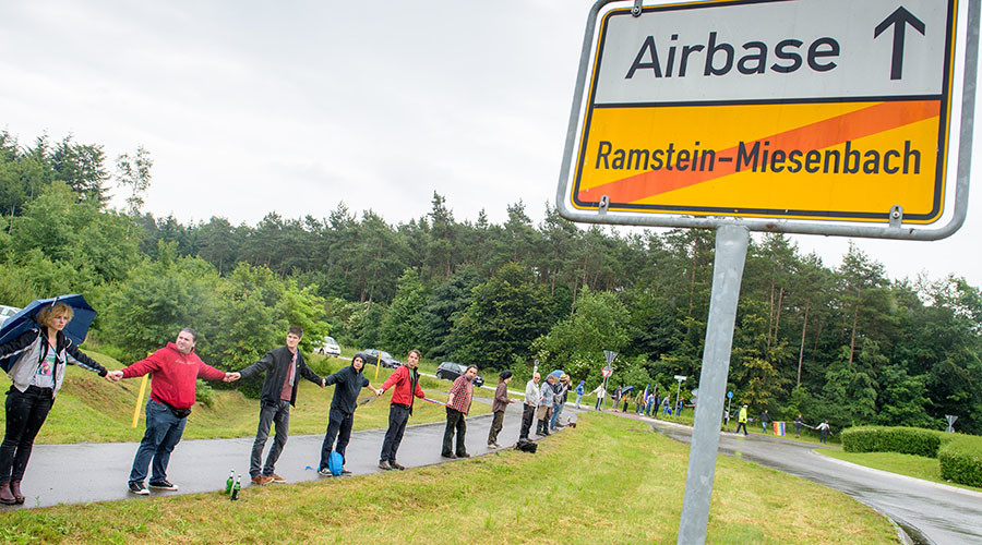 Thousands Protests against Drone Operations at US Air Force base in Germany