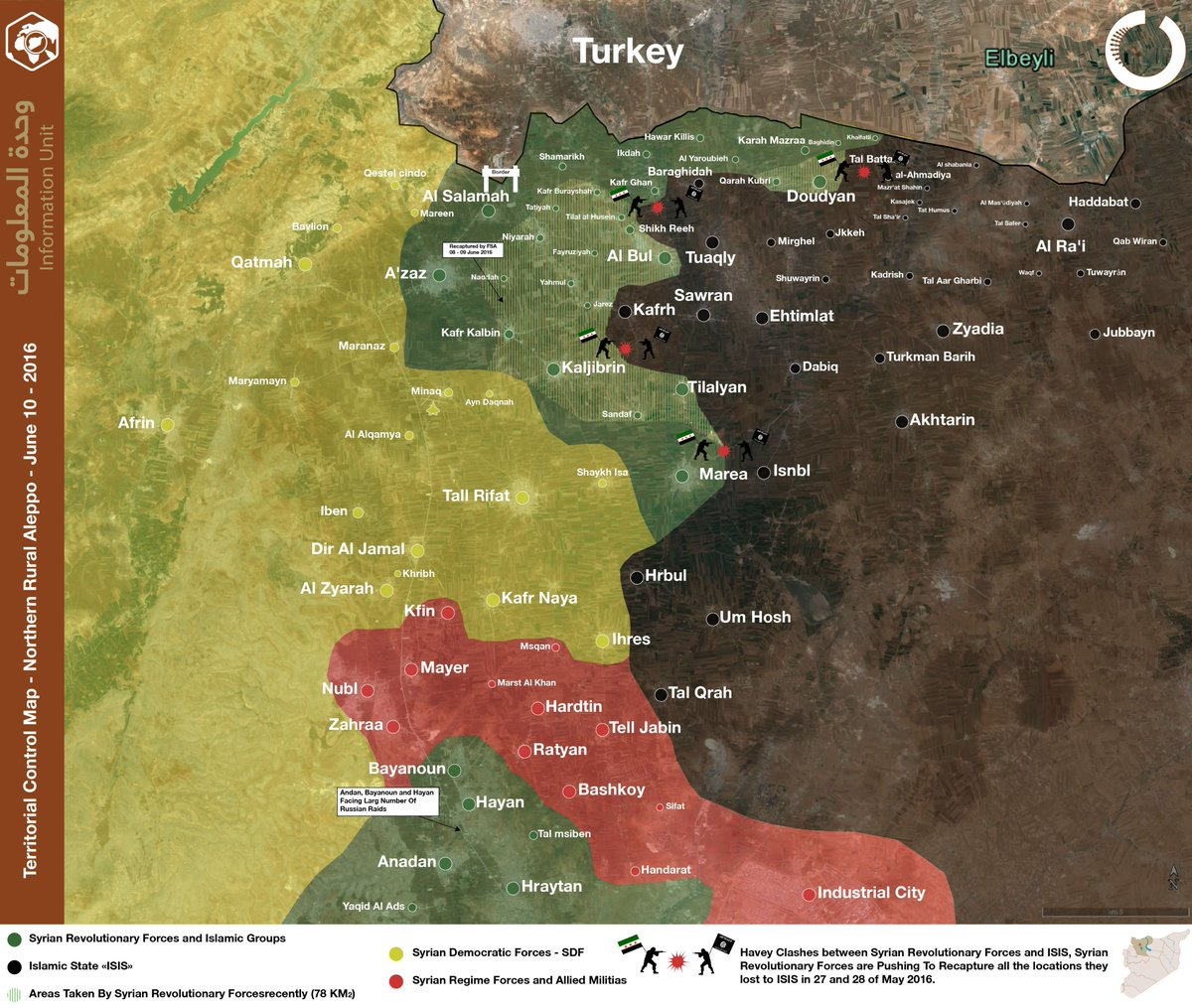 Military Situation in Northern Aleppo, Syria on June 10