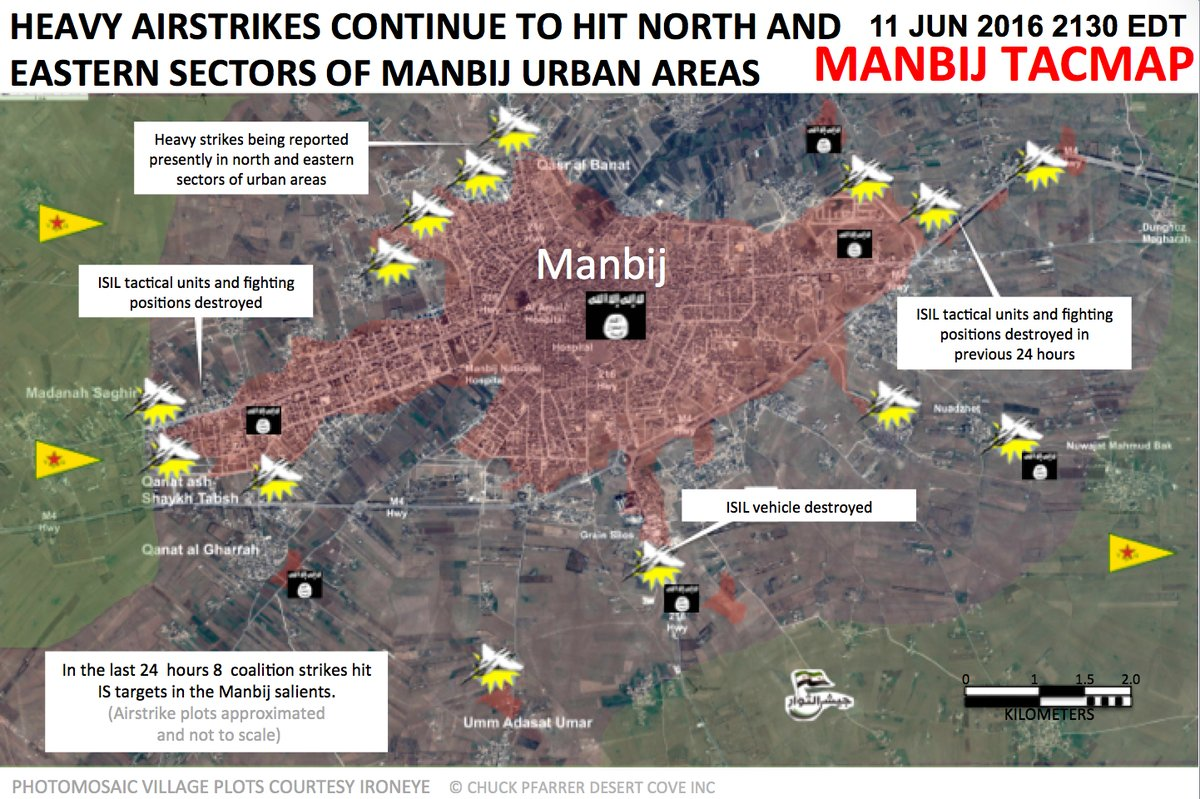 US-led Coalition Exercise Air Strikes in Urban Area of Syria's Manbij