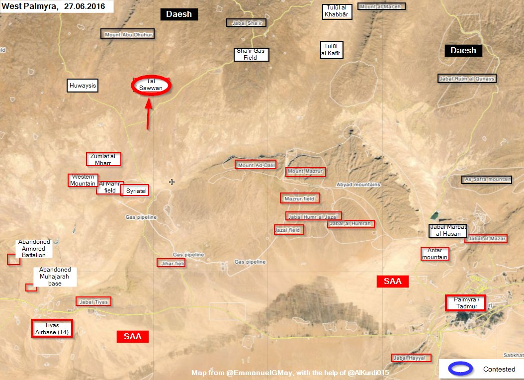 Syrian Army Recaptures Tal Sawwan from ISIS in Western Palmyra