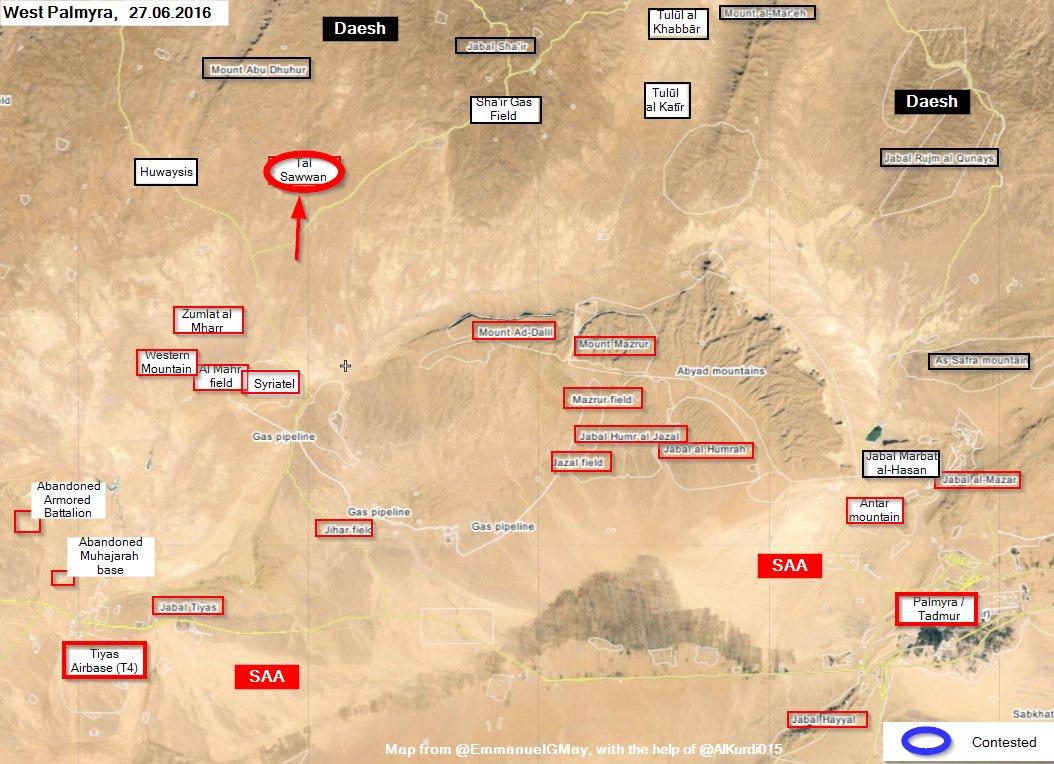 Syrian Army Recaptures Tal Sawwan from ISIS in Western Palmyra