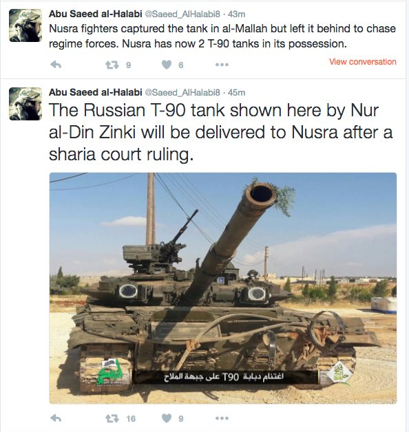 Al Nusra to Receive T-90 Battle Tank Captured from Syrian Army by CIA-backed 'Rebels'