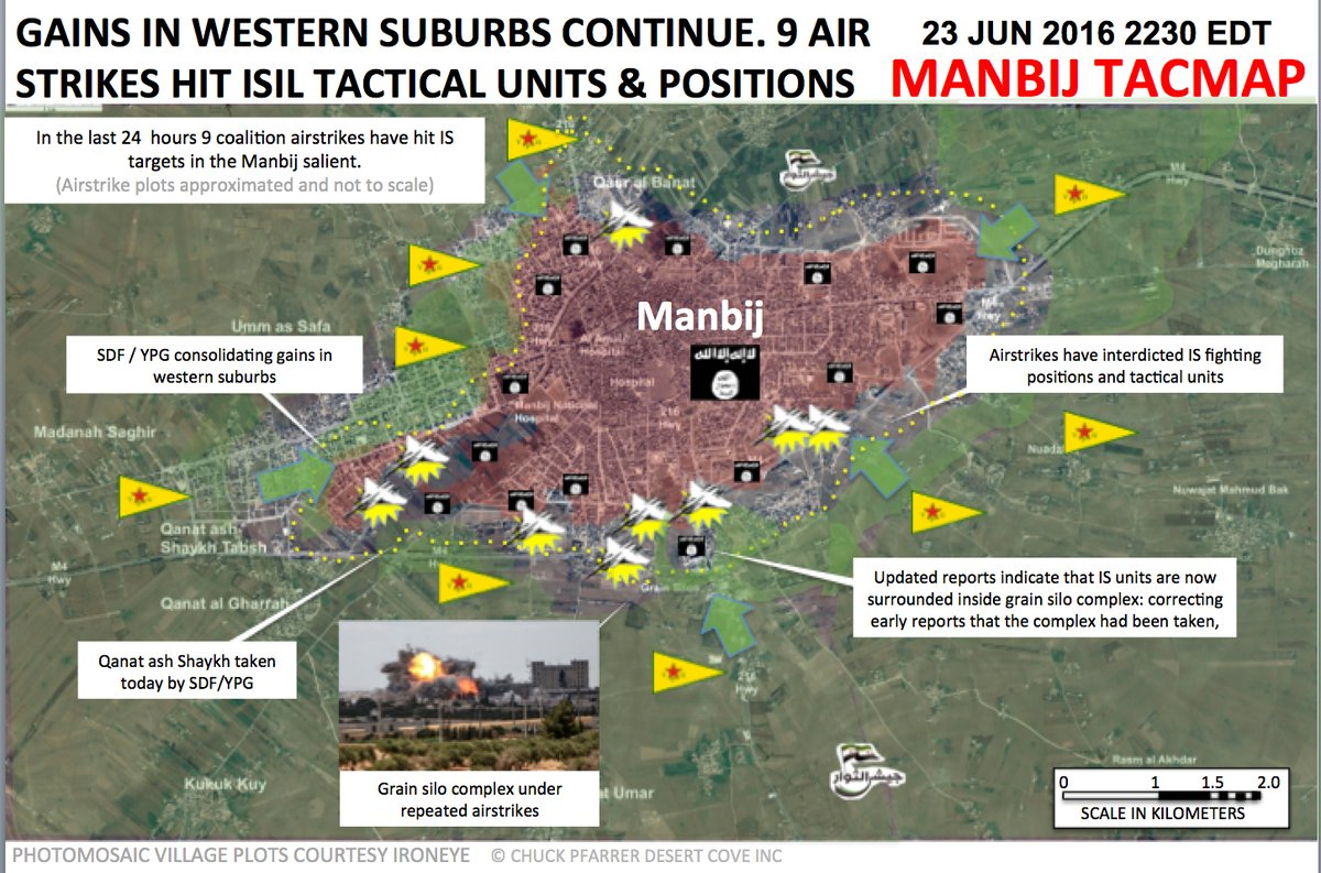 US-led Coalition Air Strikes Hit Southern and Western Suburbs of Manbij