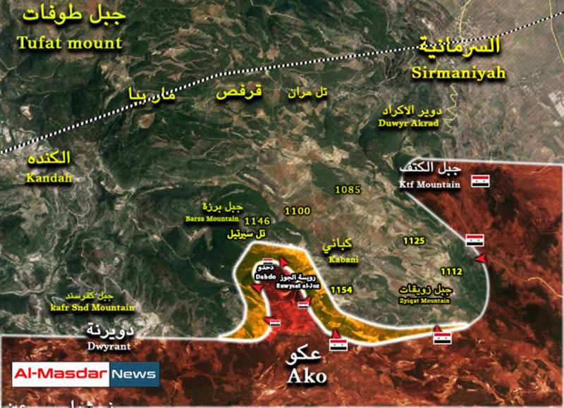 Syrian Army seized three hills near last rebel stronghold in Latakia