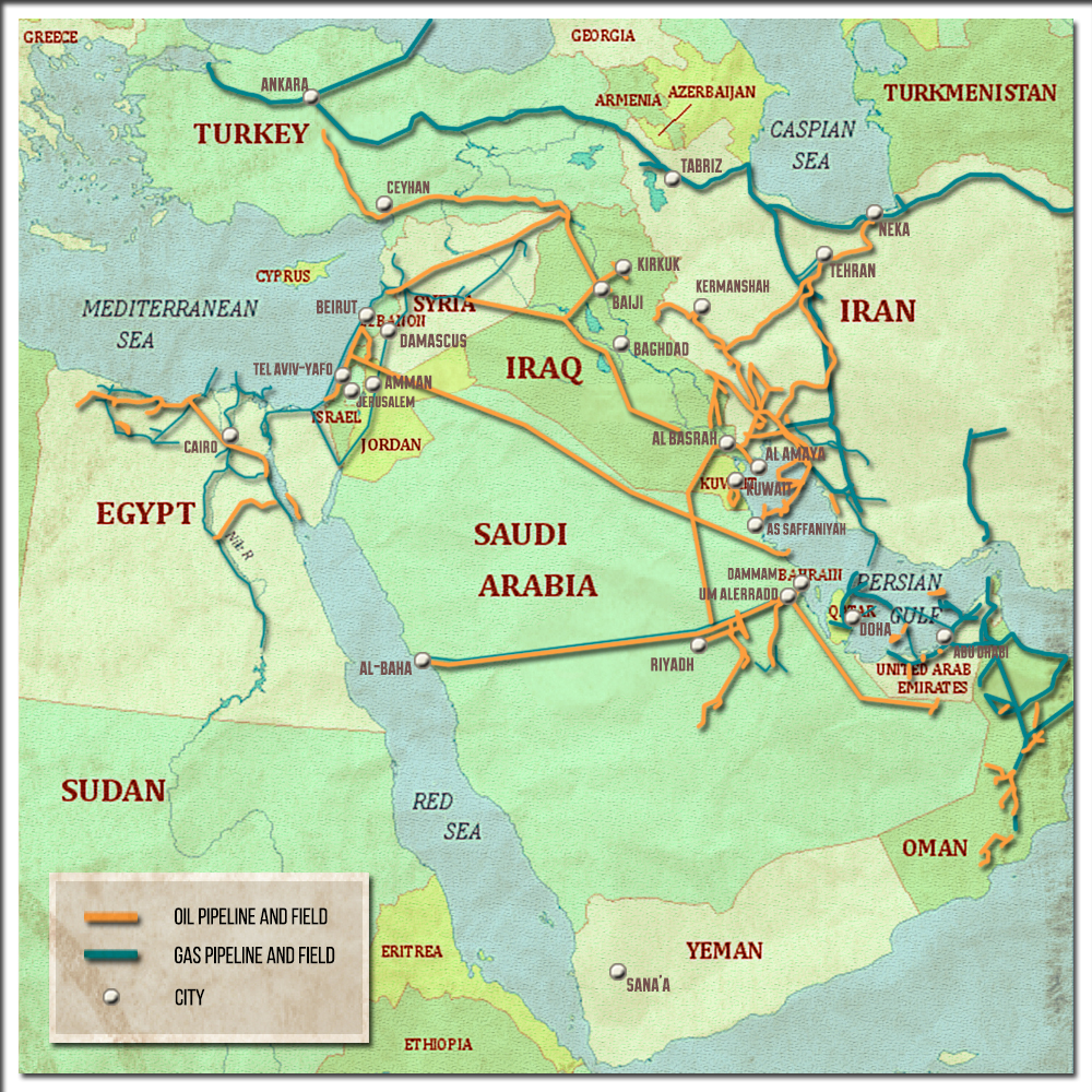 Analysis Oil And Gas Pipelines In The Middle East - Oil pipeline map north america