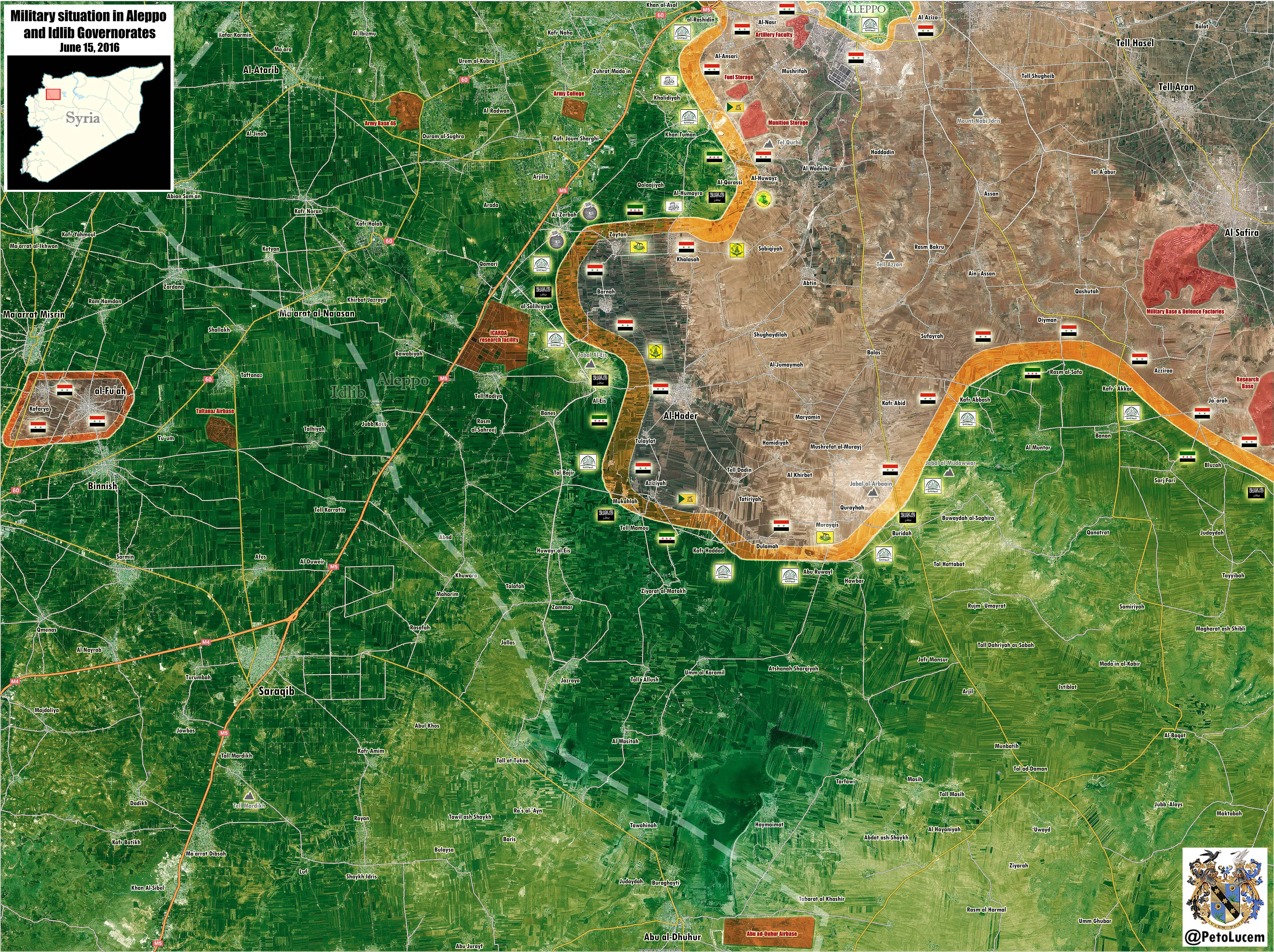 Military Situation in Syria's Provinces of Aleppo and Idlib on June 15