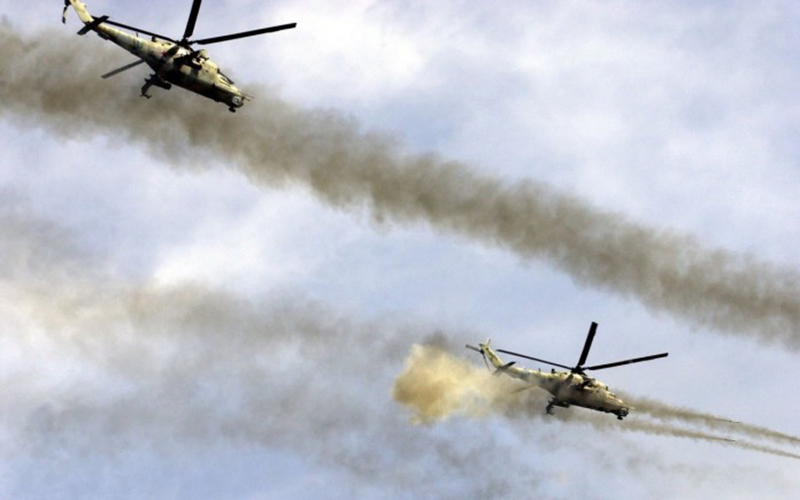 Russian helicopters raid ISIS positions in eastern Palmyra