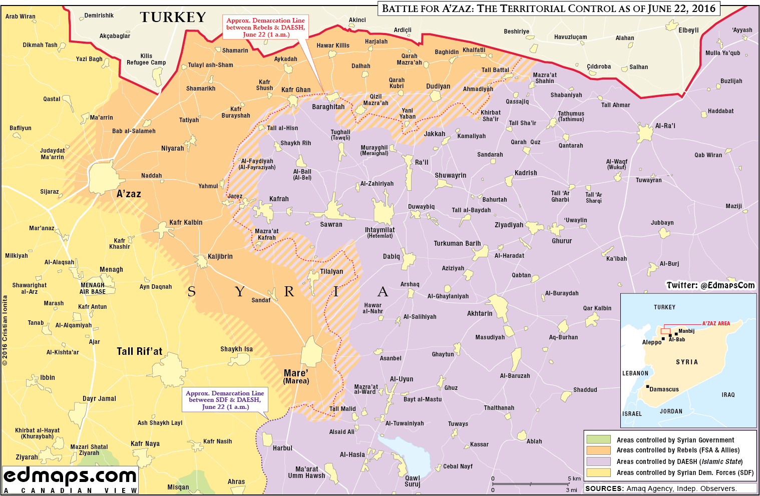 Military Situation in Northern Aleppo, Syria on June 22