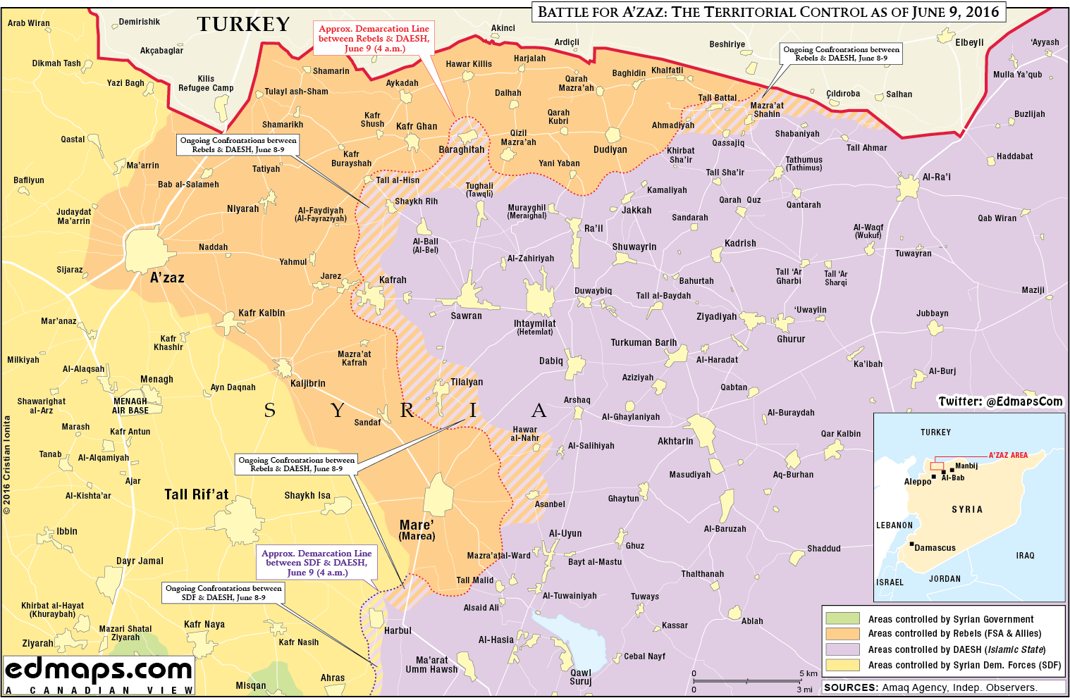 Military Situation in Northern Aleppo, Syria on June 9