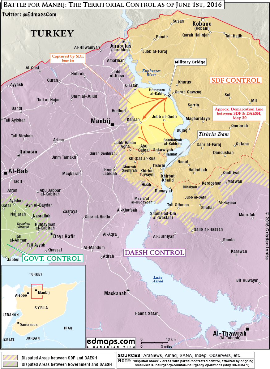 Detailed Map: Battle for Manbij, Syria on June 1