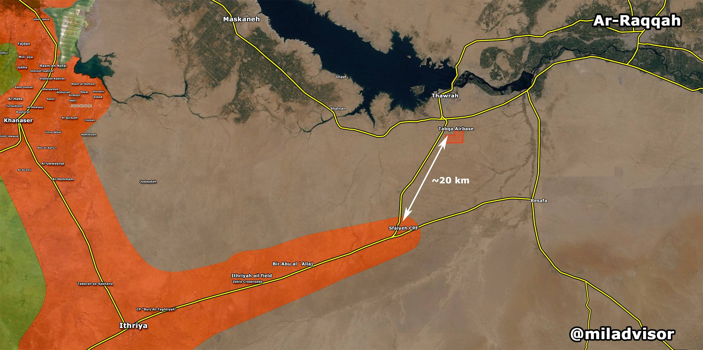Syrian Army In 20 Km from Tabaqa Military Airport in Raqqa Province