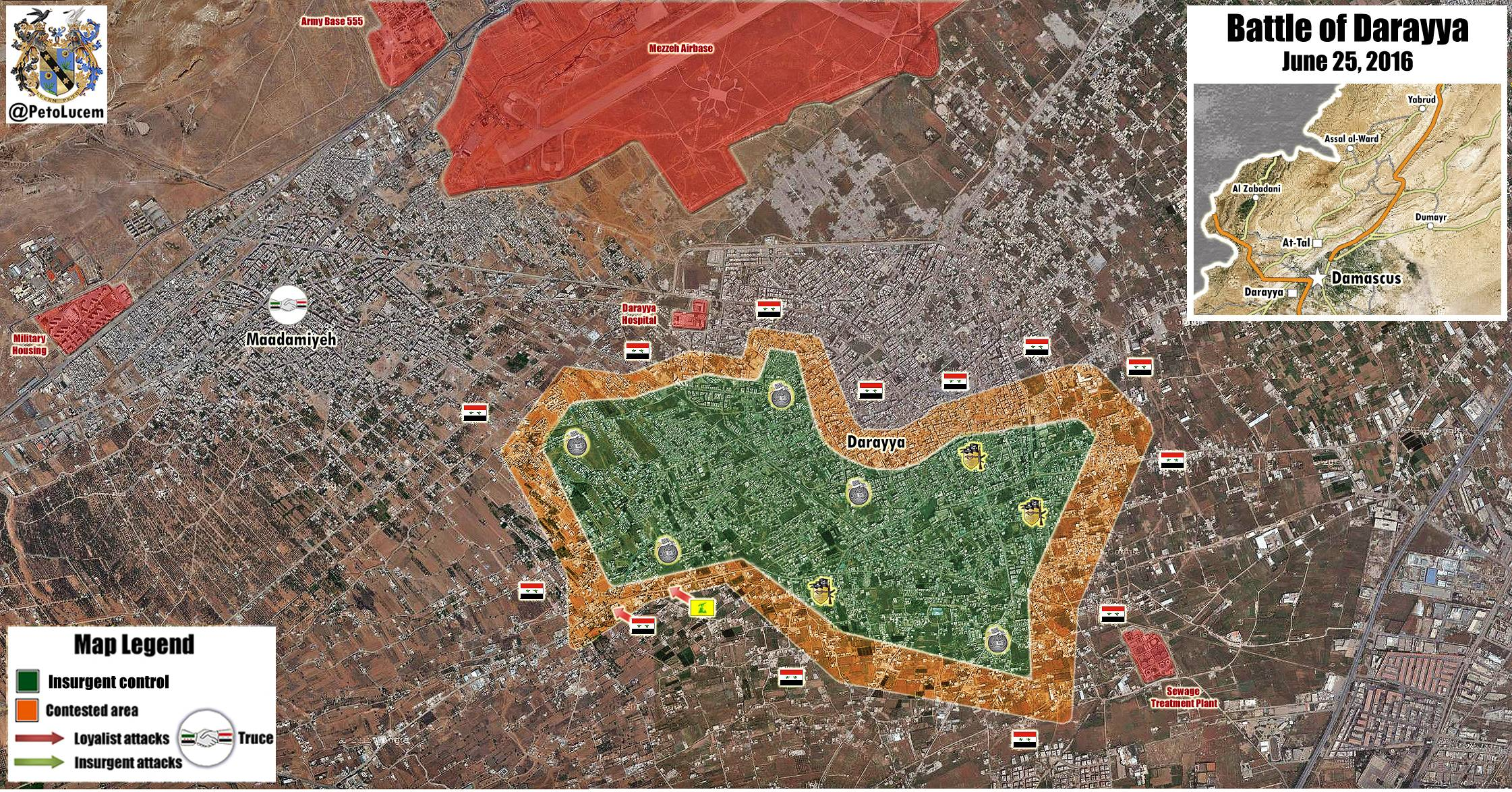 Military Situation in Darayya, Syria on June 22