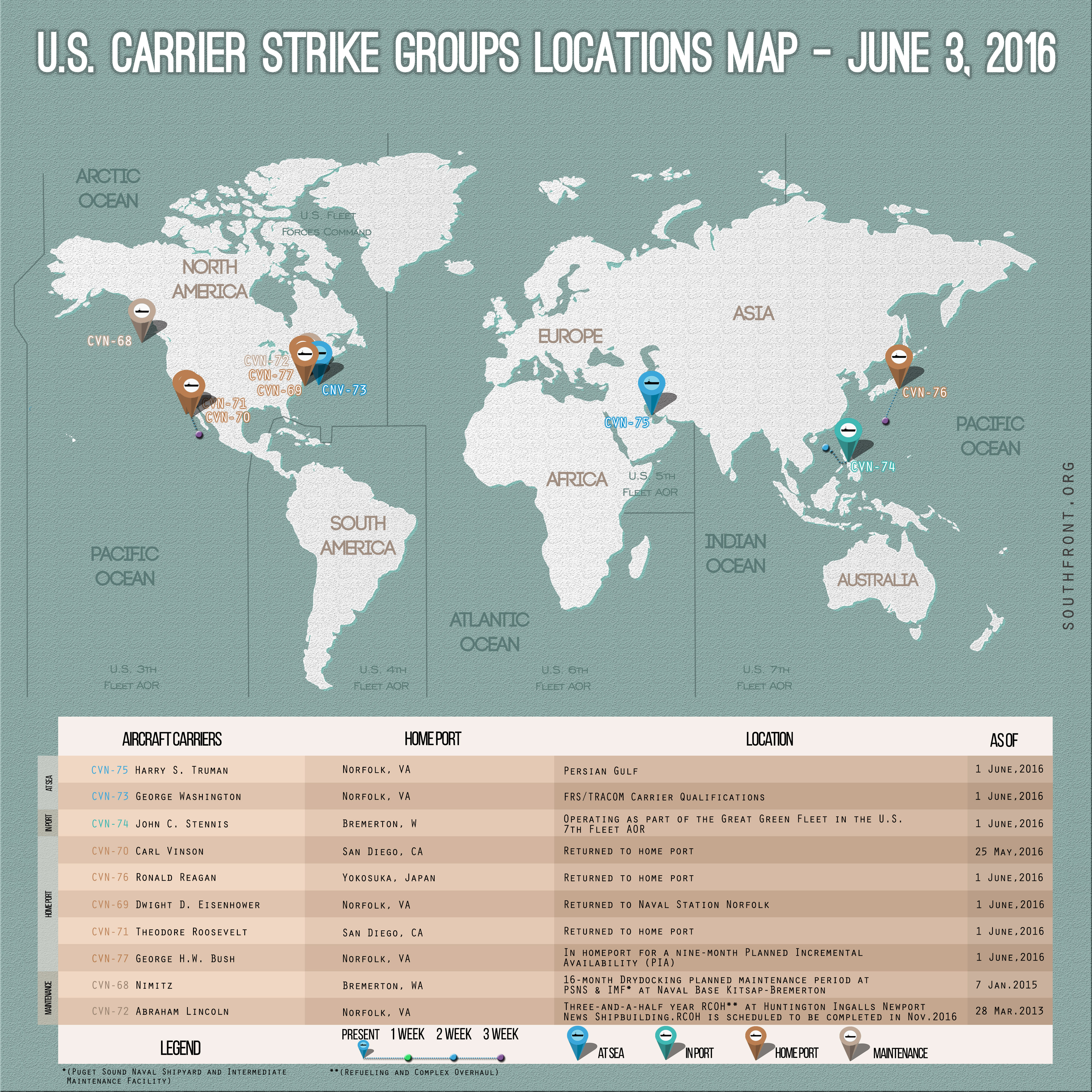 U.S. Carrier Strike Groups Locations Map – June 3, 2016