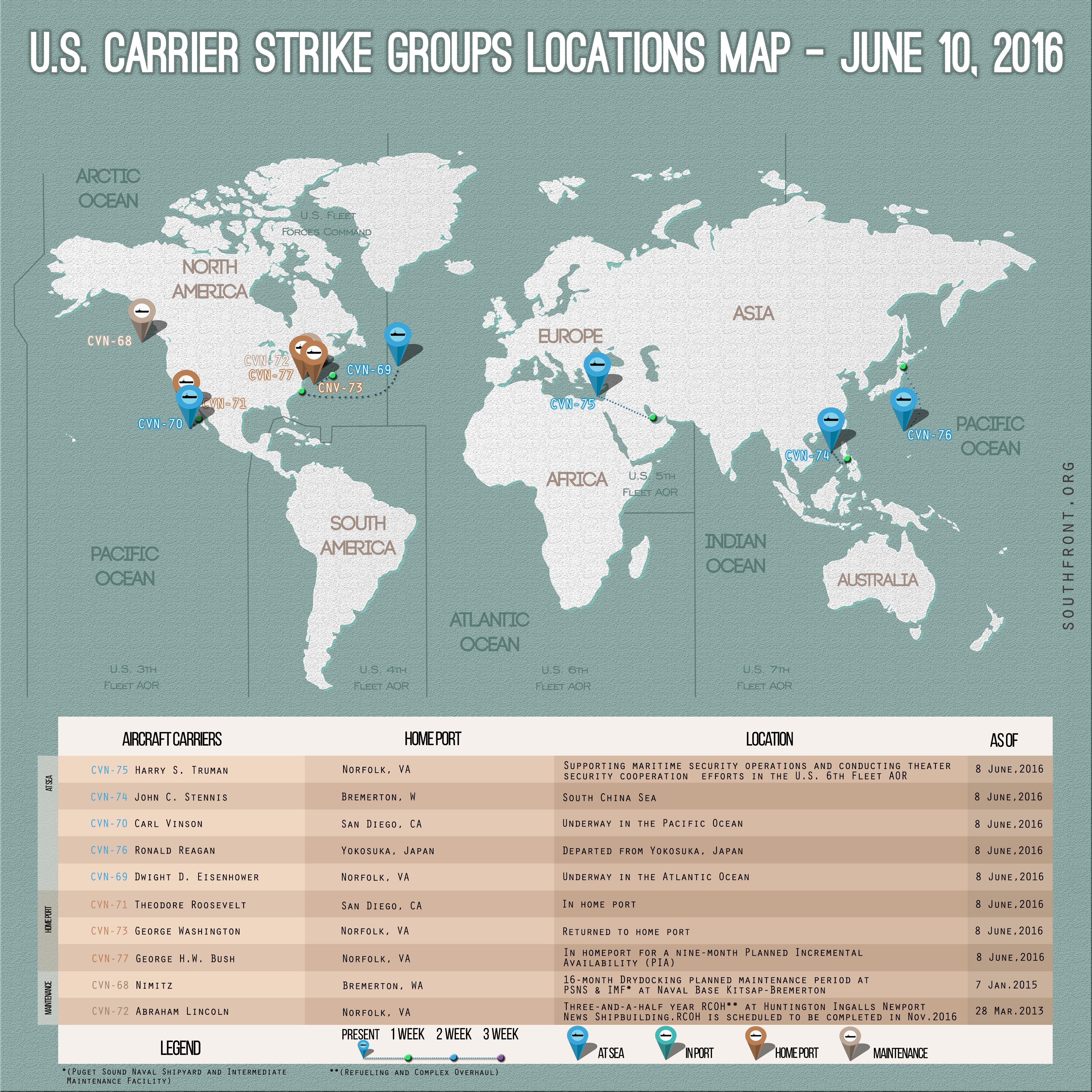 U.S. Carrier Strike Groups Locations Map – June 10, 2016