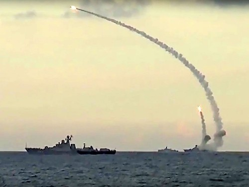 Russian Caspian Flotilla launching Kalibr land attack cruise missiles against ISIS targets in Syria, 2015.