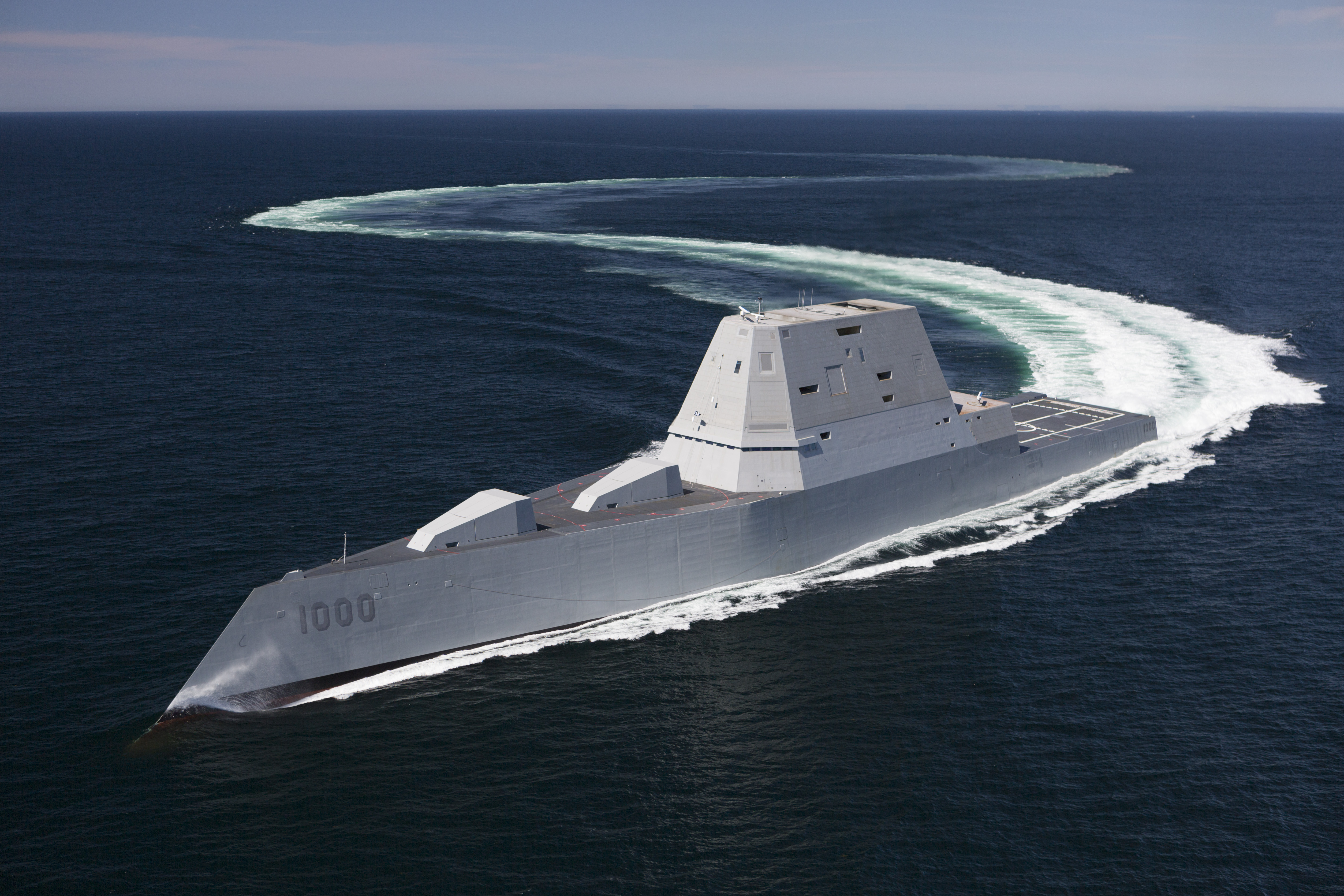 DDG-1000, pictured during acceptance trials in April, is the lead ship of the Zumwalt-class destroyers; next-generation multi-mission surface combatants tailored for land attack and littoral dominance. (U.S. Navy photo courtesy of General Dynamics/Released)