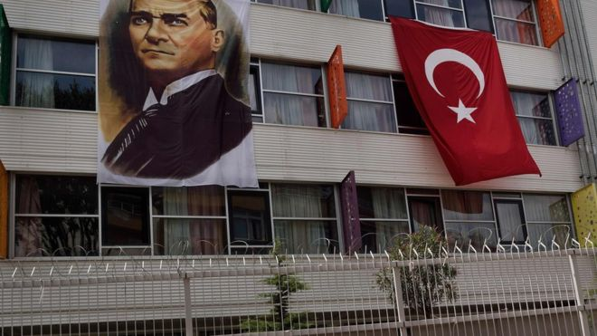 A portrait of Mustafa Kemal Ataturk hangs next to a Turkish flag on the outside of a religious school in IstanbulI. AFP