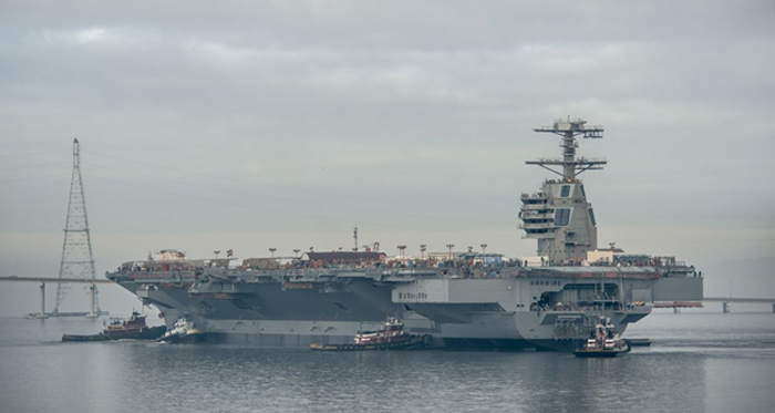 USS Gerald R. Ford CVN 78 heading out for sea trials.