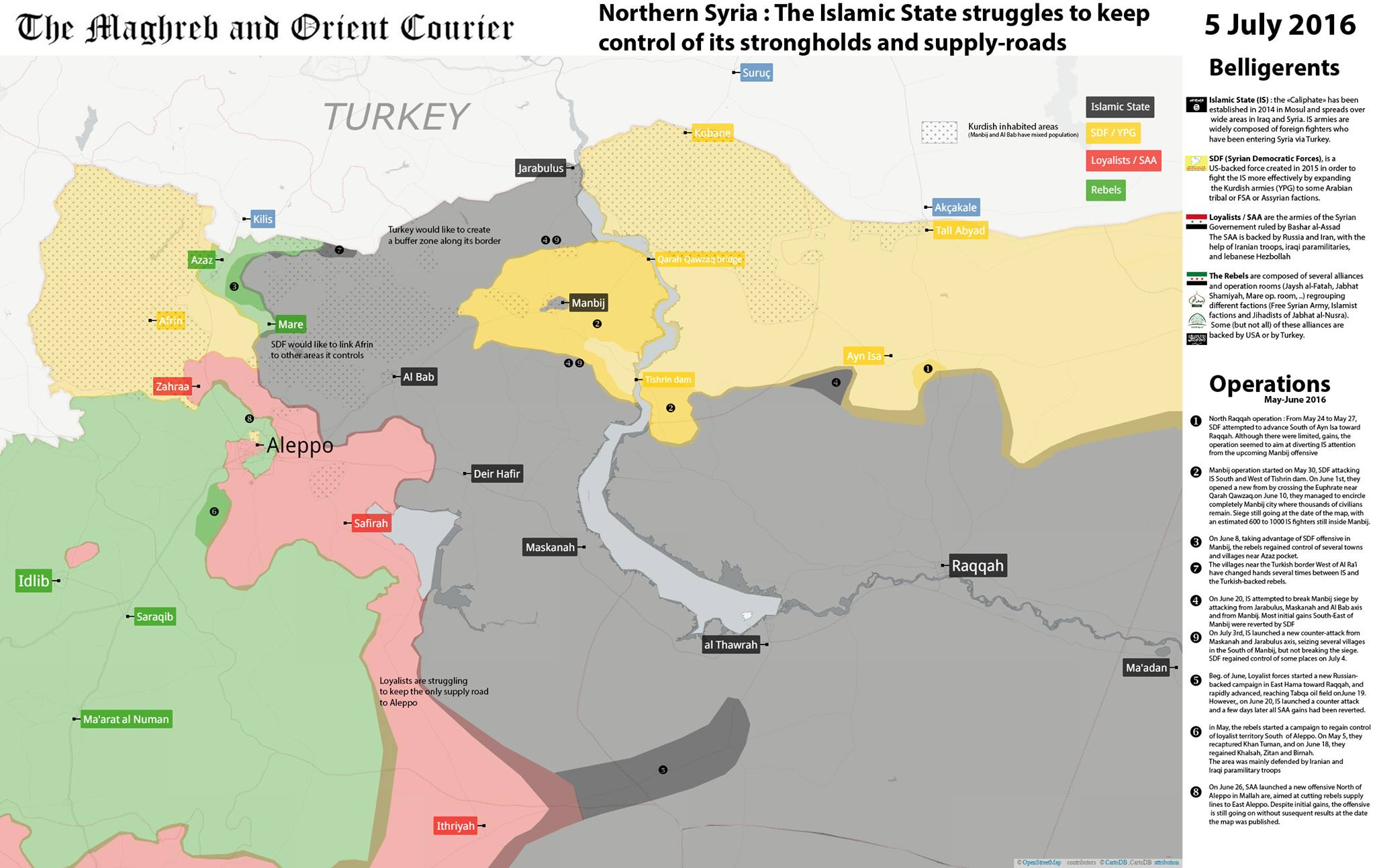 ISIS Struggles to Keep Its Strongholds and Supply Roads in Northern Syria