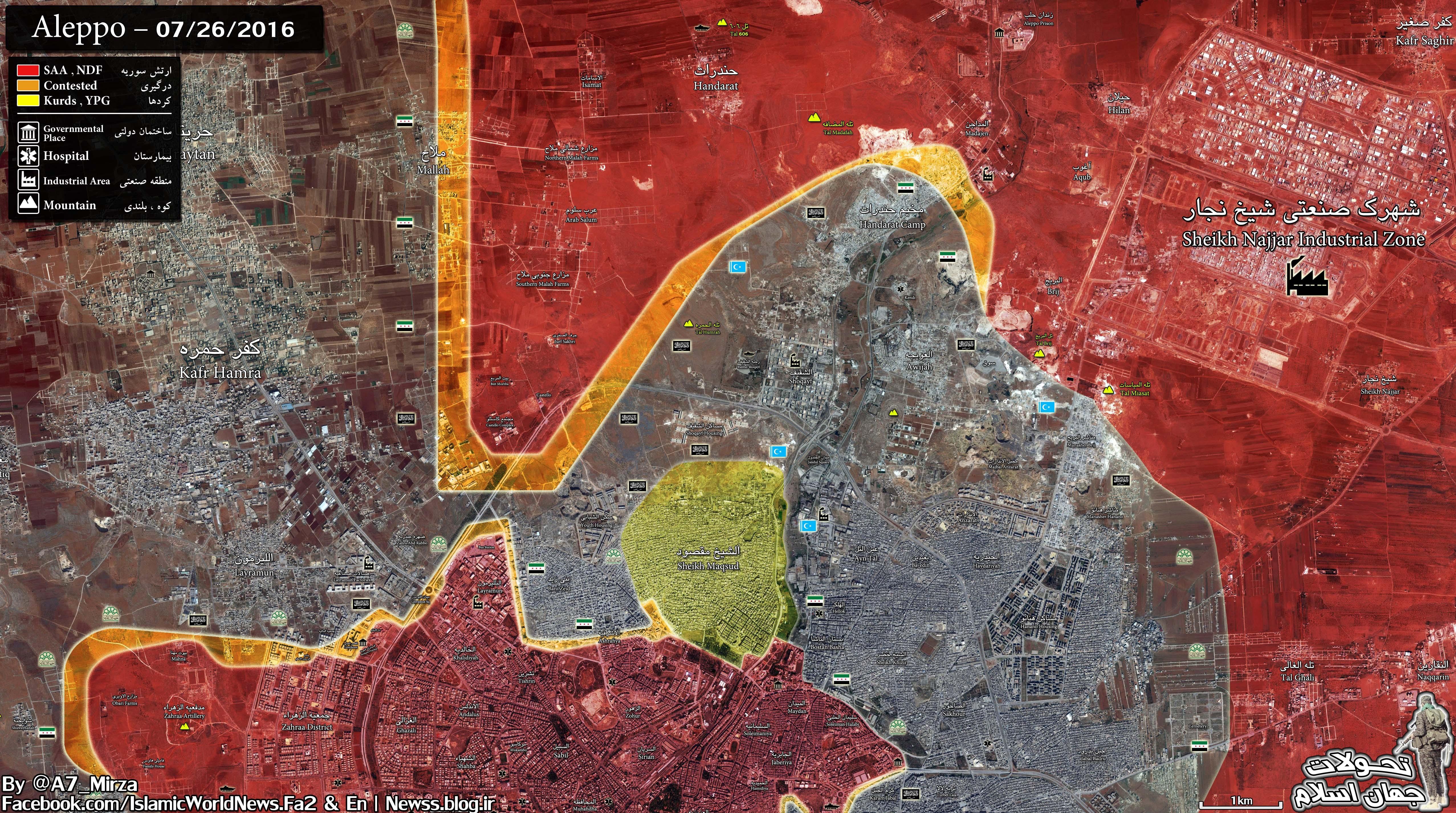 Syrian Army & Kurdish YPG Complite Encirclement of East Aleppo