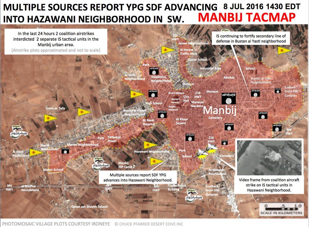Syrian Democratic Forces Advancing in Hazawani Neighborhood of Manbij
