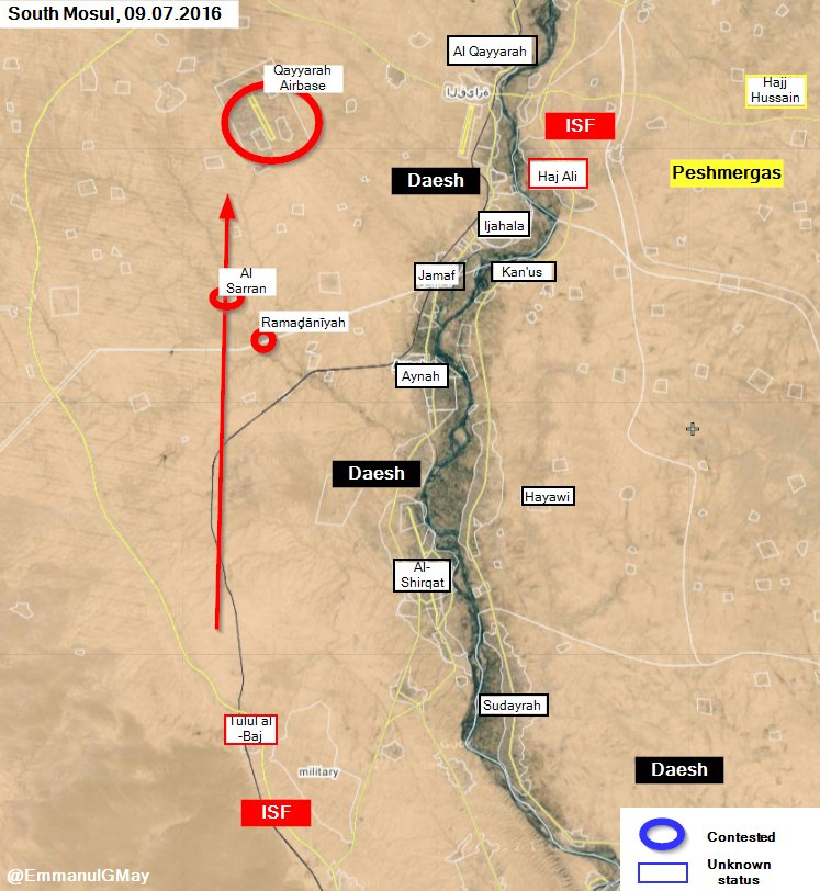 Iraqi Forces Seize Air Base and 2 Villages South of Mosul