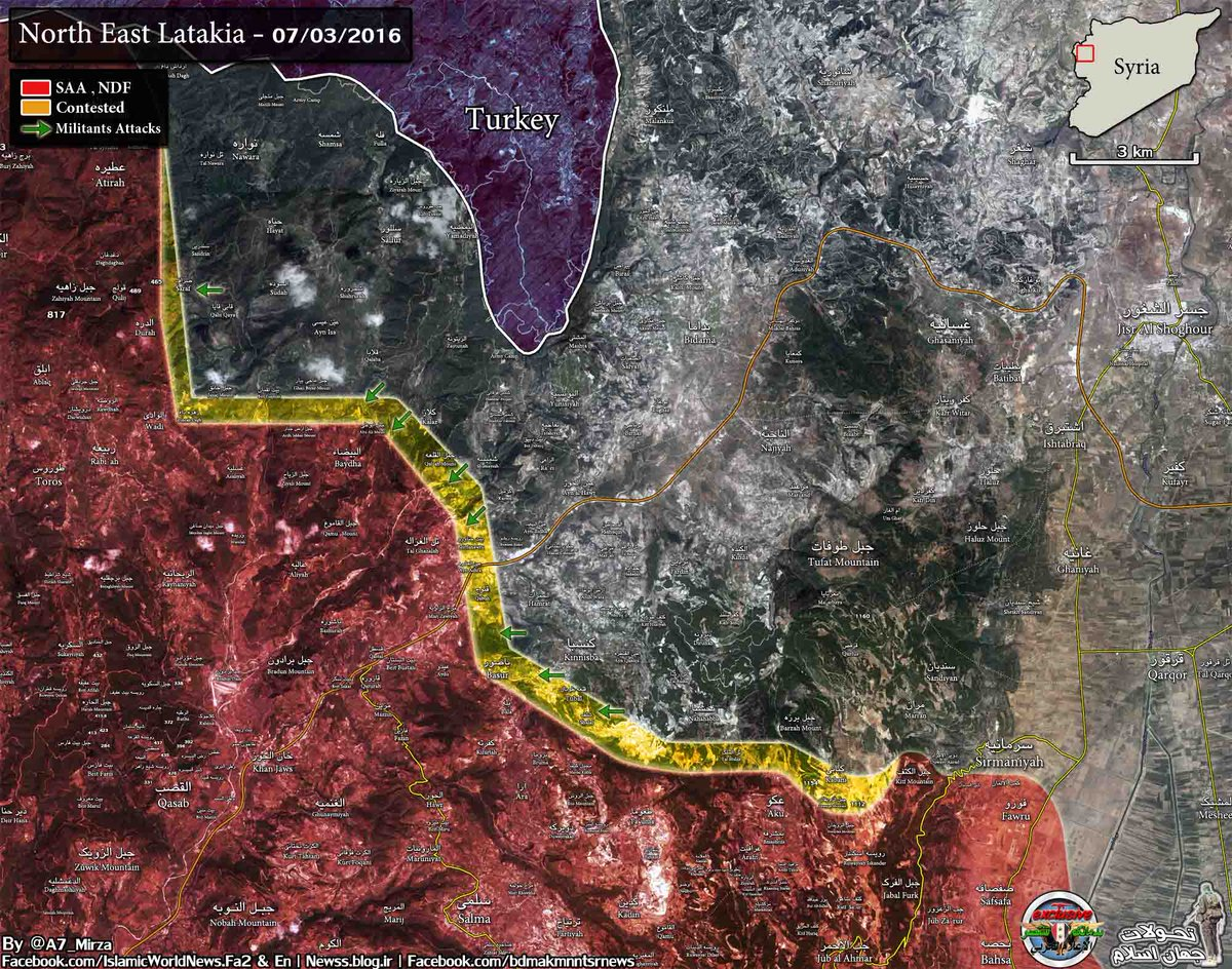 Military Situation in Northern Latakia, Syria on July 3