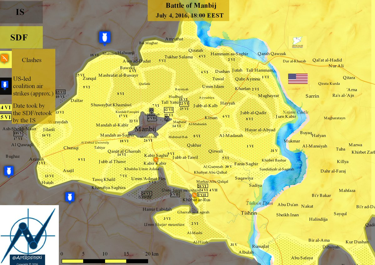 Military Situation in Manbij, Syria on July 4