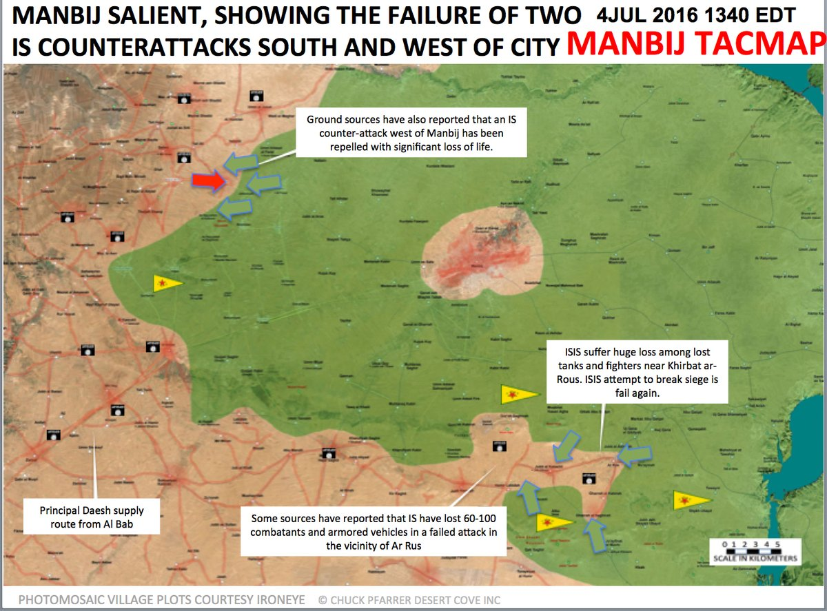 Syrian Democratic Forces Repelled ISIS Attacks South and West of Manbij