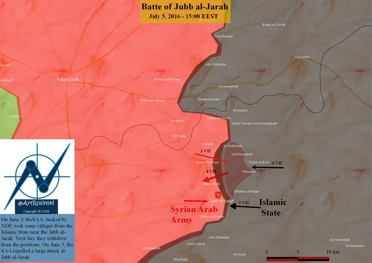 Syrian Army Fights with ISIS for Mabougah in Eastern Homs