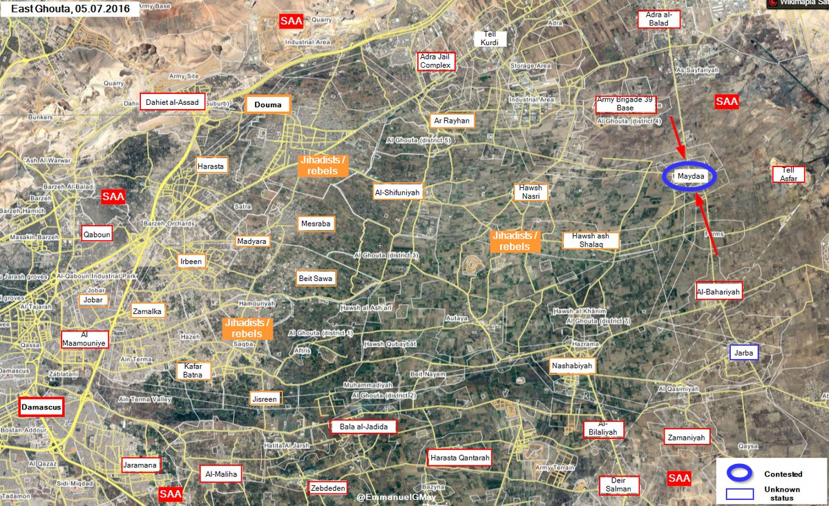 In East Ghouta Clashes Ongoing for Strategic Town of Maydaa
