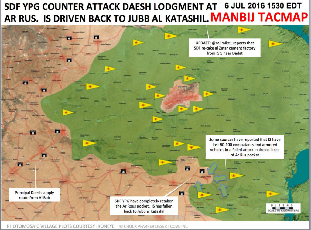 Syrian Democratic Forces Prepare New Storm of Manbij, 100 ISIS Militants Killed in Ar Rus