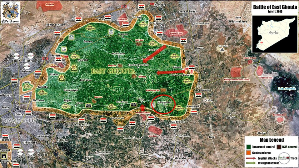 Military Situation in East Ghouta, Syria on July 11
