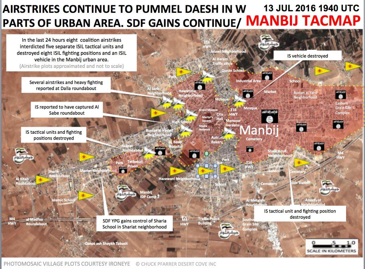 Syrian Democratic Forces Engange ISIS Militants in Manbij