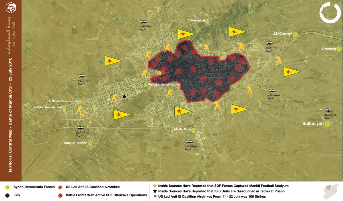 Syrian Democratic Forces Secure Hazawni District in Manbij. ISIS Rejects Offer to Leave City