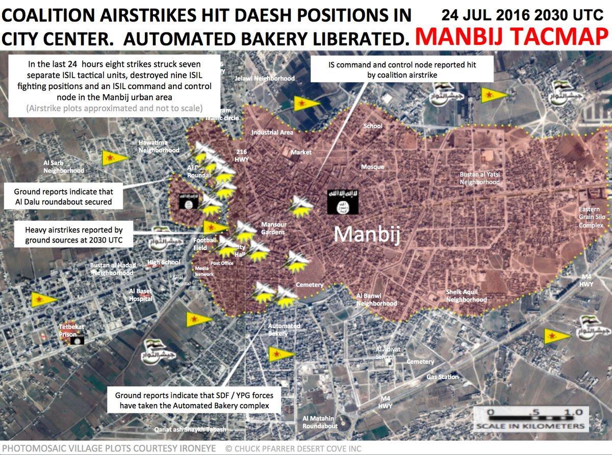 US-led Coalition Warplanes Strike Manbij City Center