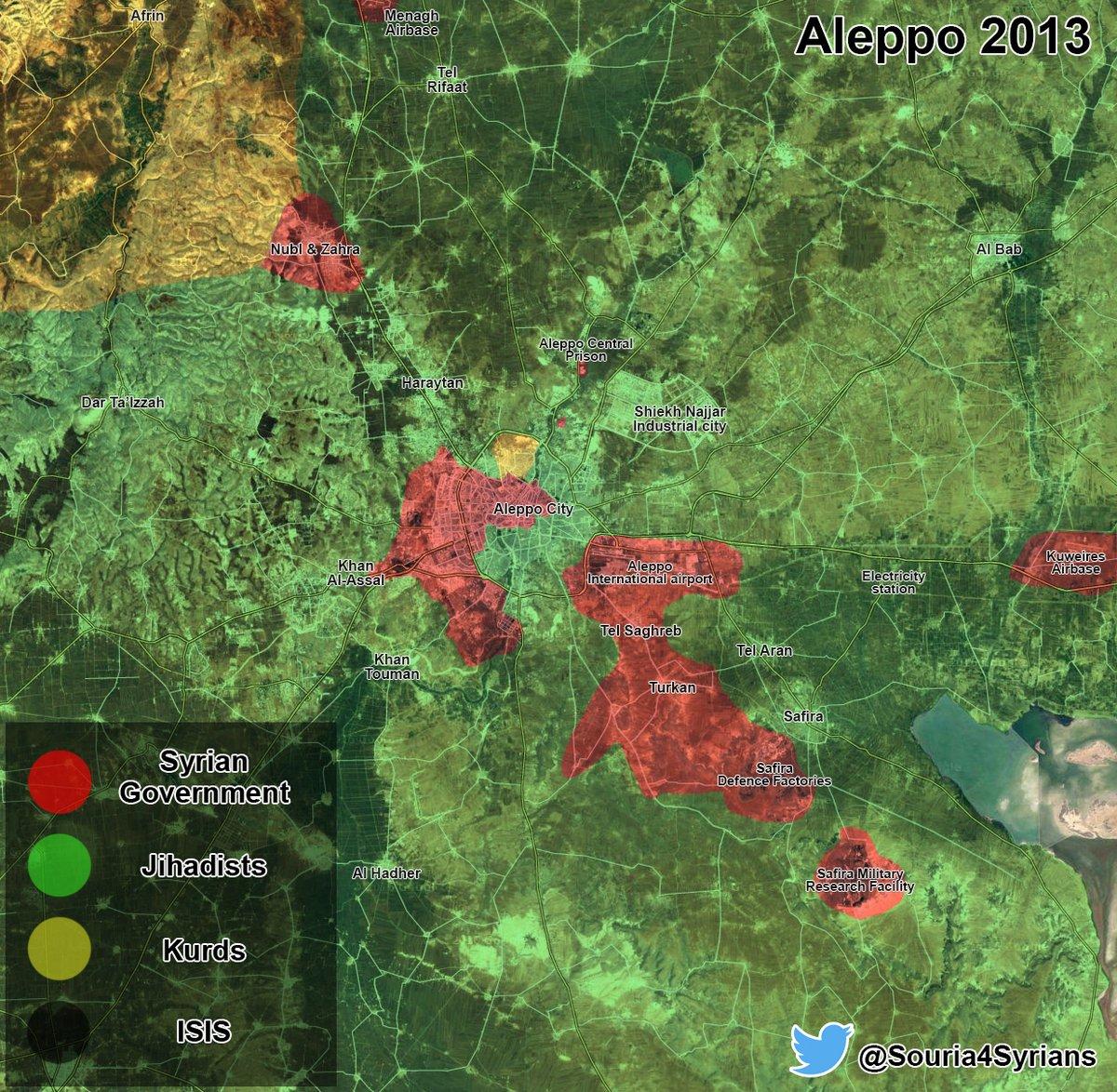 Maps Comparison: Aleppo City in 2013 vs Aleppo City in 2016