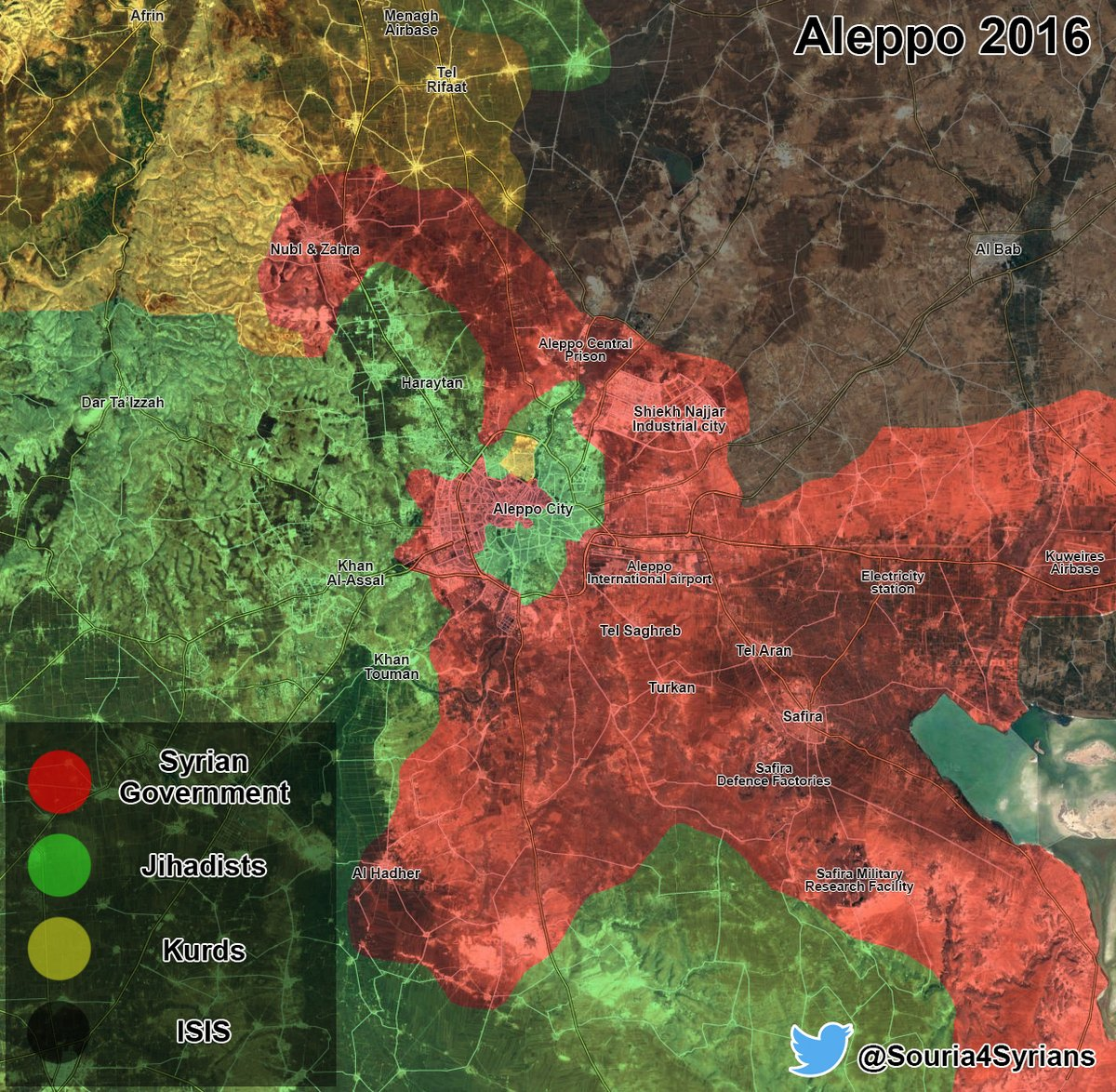 Maps Comparison: Aleppo City in 2013 vs Aleppo City in 2016