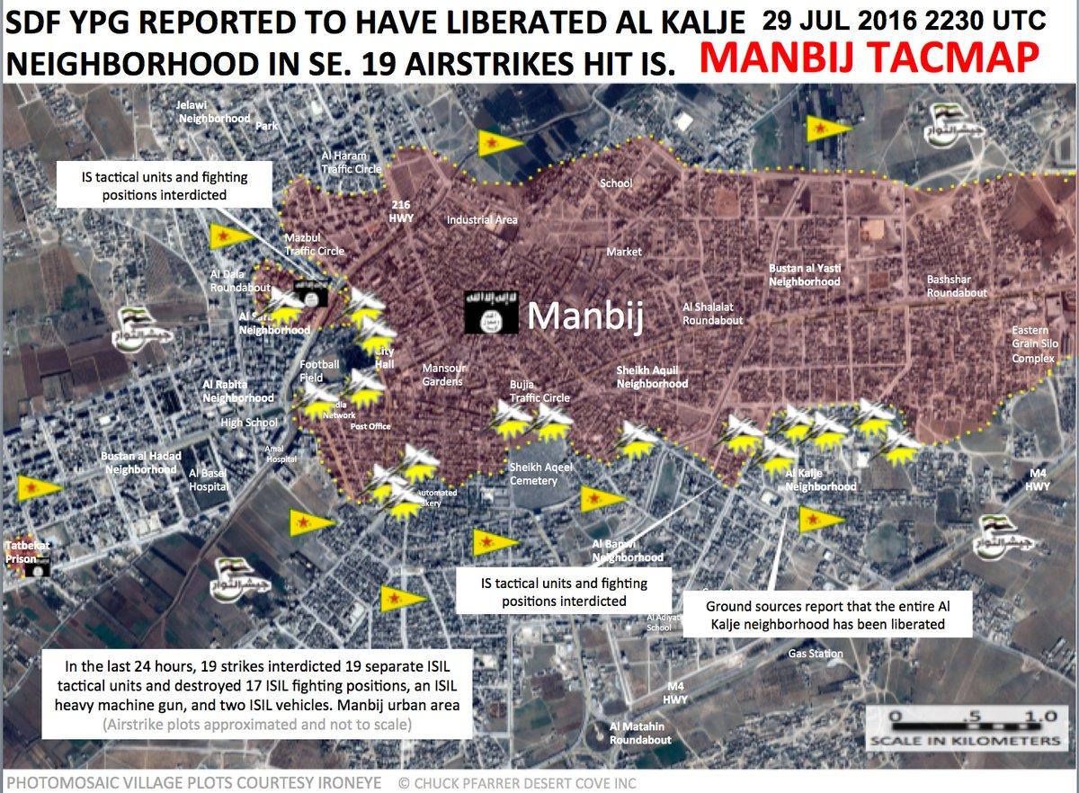 US-led Coalition Condutcts 19 Air Strikes in Manbij Urban Area