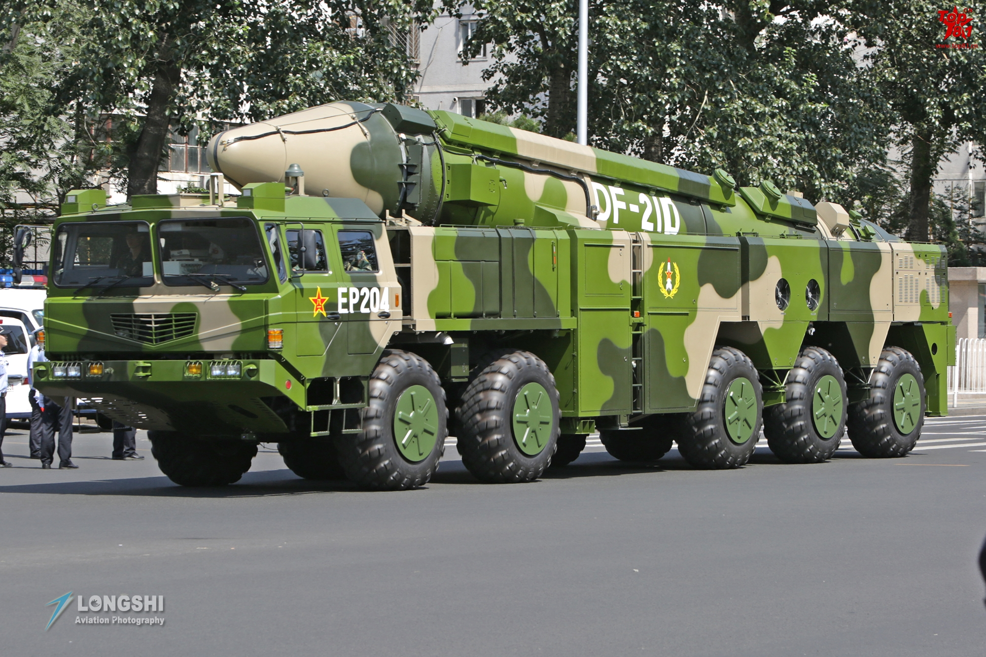 Chinese PLA DF-21D ASBM on mobile launch vehicle.